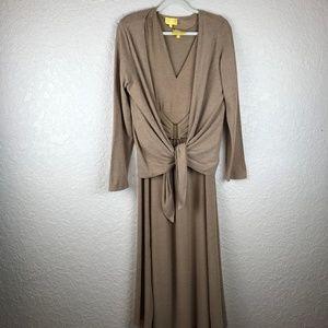 Liz Lange Tan Long sleeve dress with jacket